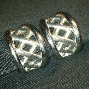 Vintage Clip-On Earrings Silver Tone Lattice Hoops